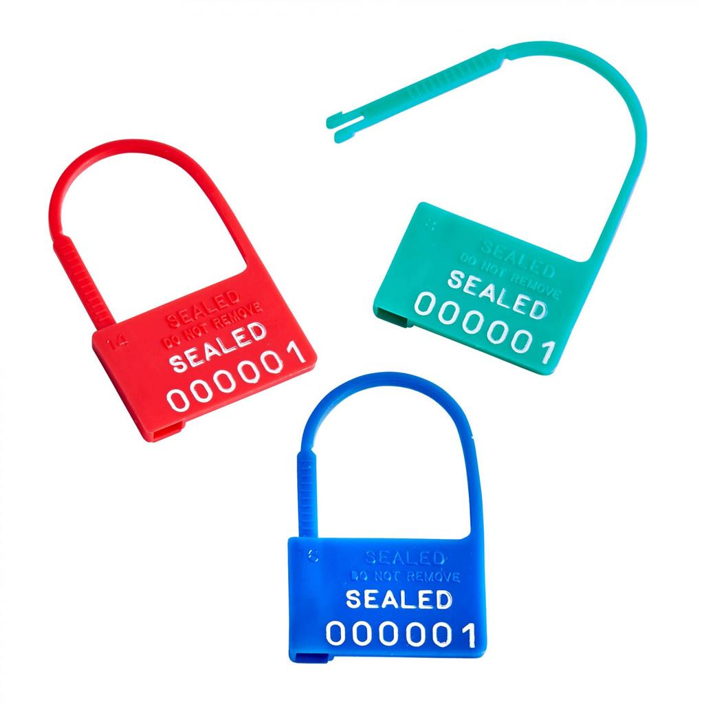 Padlock Plastic Safety Control Seals With Numbers - Yellow 100/box