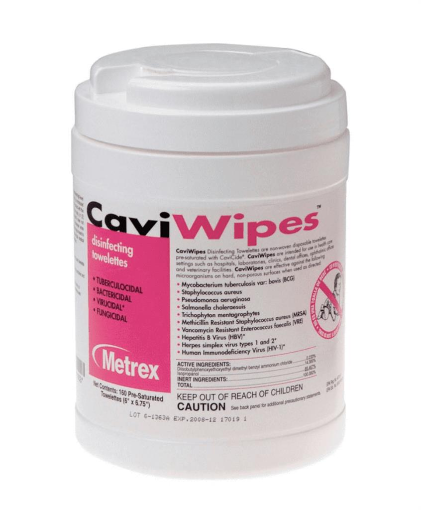 "Multi-Purpose Disinfectant CaviWipes, Wipe Pull-Up 6"" x 6.7"" 160 wipes per canister 1/EA 12/CS"