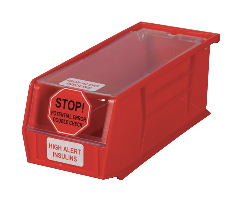 "High Alert Insulin Bin - 1401 Red 4-1/8""W x 4""H x 10-7/8""D, 1/EA"