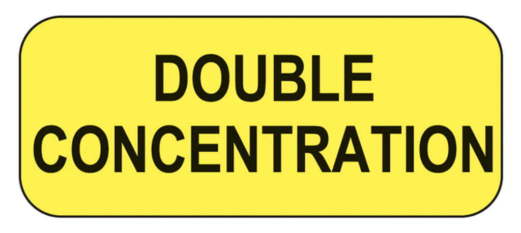Double Concentration Labels, Yellow with Black Text, 1000/EA