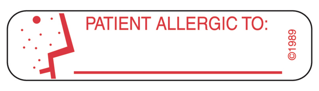 Patient Allergic To Labels, White with Red Text, 1000/EA