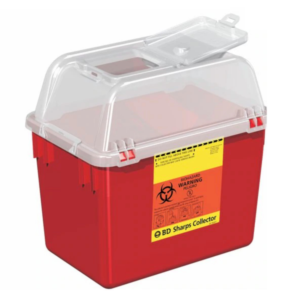 Multi-purpose Sharps Container Multi-Use Nestable 10.07 X 7.09 X 9.84 Inch 8 Quart Red Base Clear Lid Funnel Lid, 4/CS
