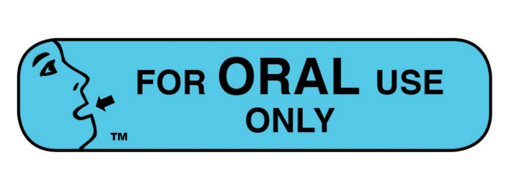 "Pharmacy Advisory Label - For Oral Use Only 1-1/16"" x 3/8"" 1000/bx"