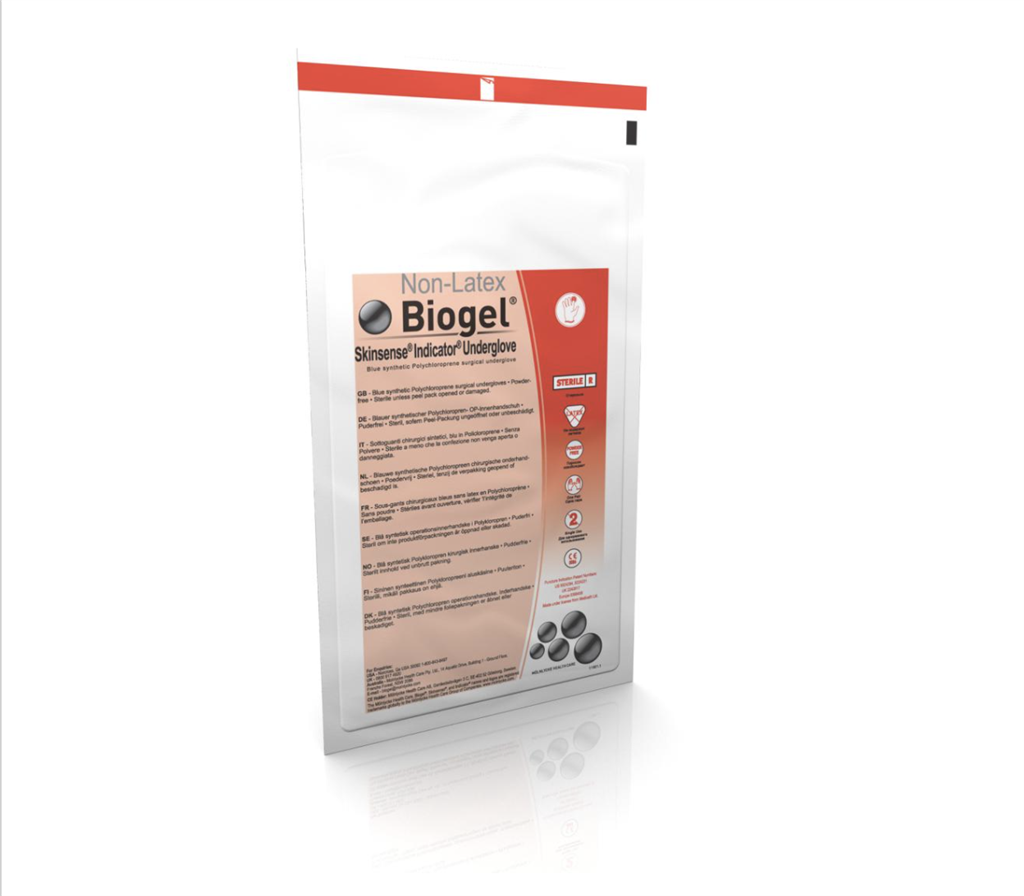 Biogel Skinsense Indicator Sterile Powder-Free Synthetic Surgical Undergloves, Size 7.5, 200/CS