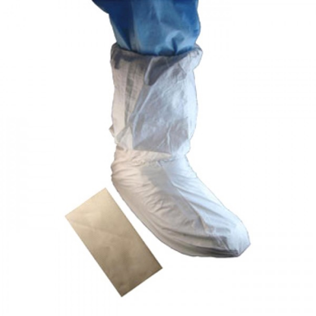 "SHOE COVER W/PVC SOLE, 18"" MP UPPER, WHITE 100/CS"