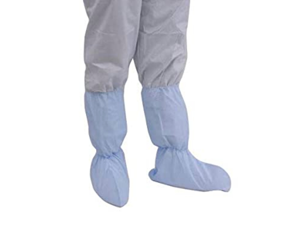"Latex Free/Lint Free Laminated Cleanroom Shoe Cover w/18"" High Calf-Length Top, Extra Large, 100 Pie"