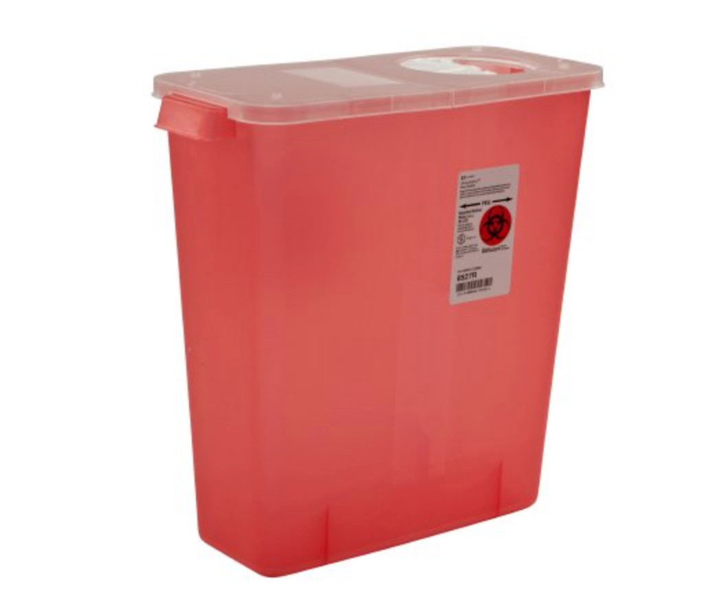 Multi Purpose Sharps Container 1-Piece 13.75H X 13.75W X 6D Inch 3 Gallon Translucent Hinged, Rotor