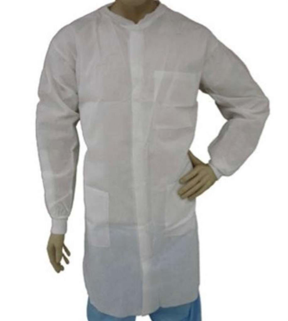 LAB COAT, WHITE SMS, KW, KC, 3 PKT, LRG 30/case