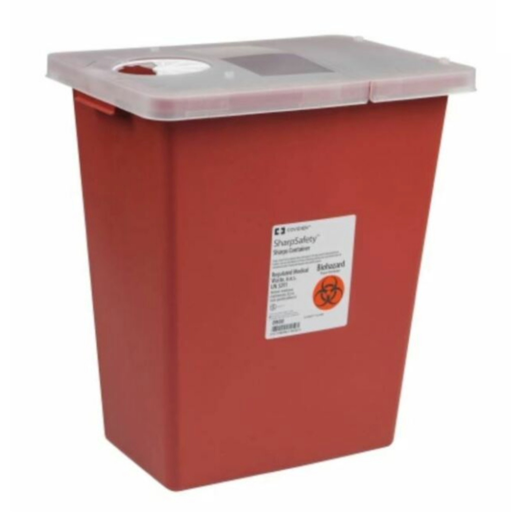 Multi Purpose Sharps Container 1-Piece 17.5H X 15.5W X 11D Inch 8 Gallon Red Hinged Lid 10/case