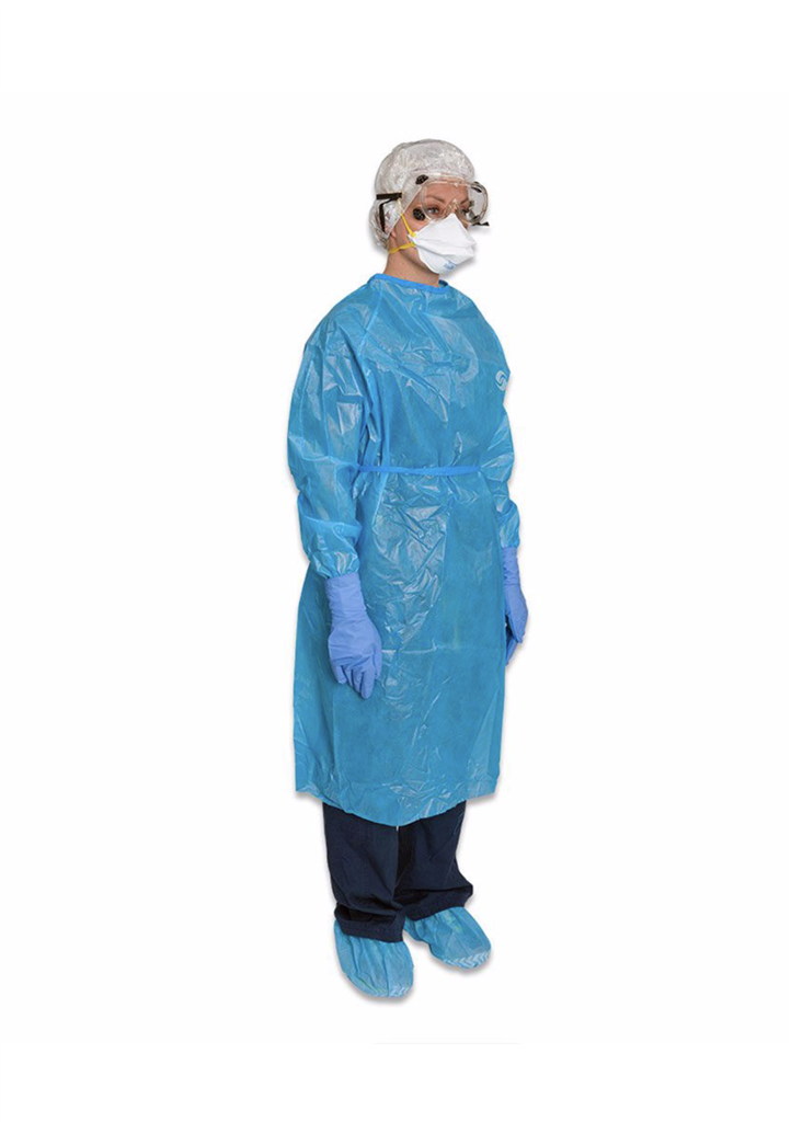 Chemotherapy Gown ChemoPlus 2X-Large Blue Long Sleeve Poly Coated NonSterile 30/case