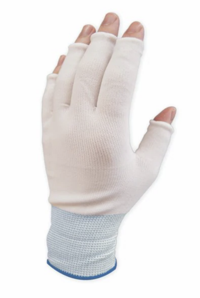 PureTouch Glove liners Blue Cuff Large Half Finger