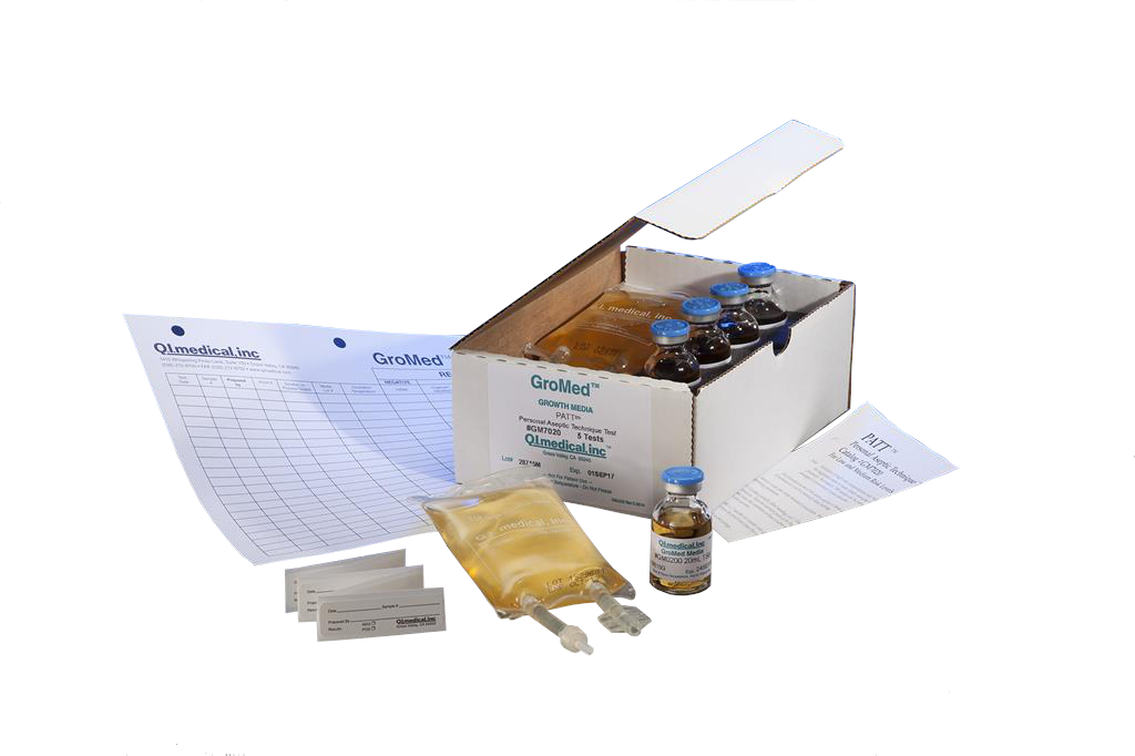 PATT2, Personal Aseptic Technique Test Kit, 20mL Vials, 100mL Partially Filled Minibags, Test Procedure And Results Log, 5 Vials,5 Bags