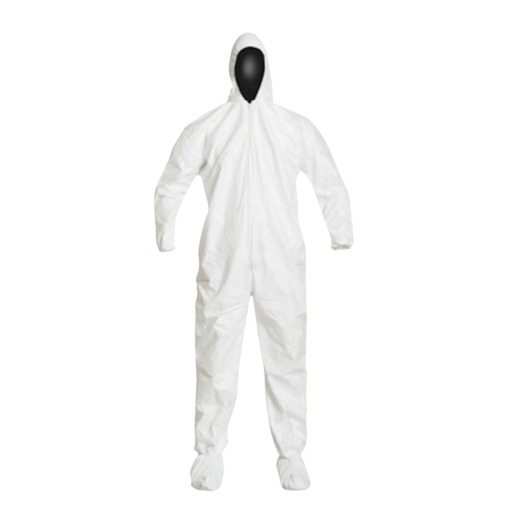 DuPont™, Tyvek®, IsoClean®, Coverall, Serged Seams, Attached Elastic Hood, Set Sleeve Design, Elastic Wrists and Ankles, Attached Thumb Loops, Zipper Closure, Attached Boots w/PVC Soles, Large,white.