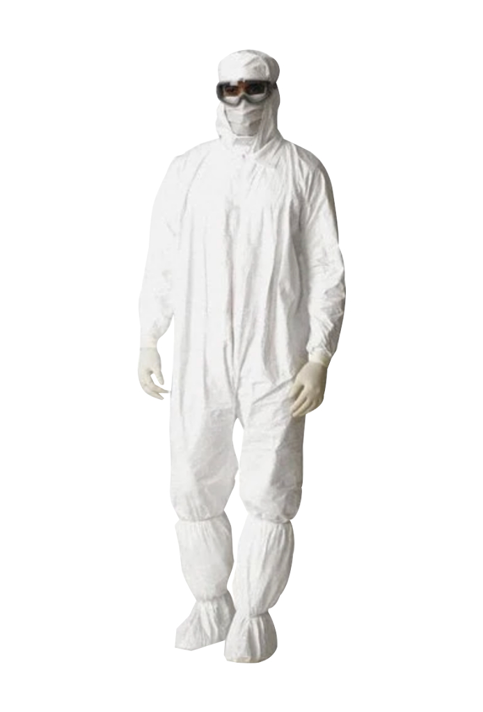 DuPont, Tyvek, IsoClean, Coverall, Serged Seams,  Standard Collar, Set Sleeve Design, Elastic Wrists and Ankles. Zipper Closure, Large,  White
