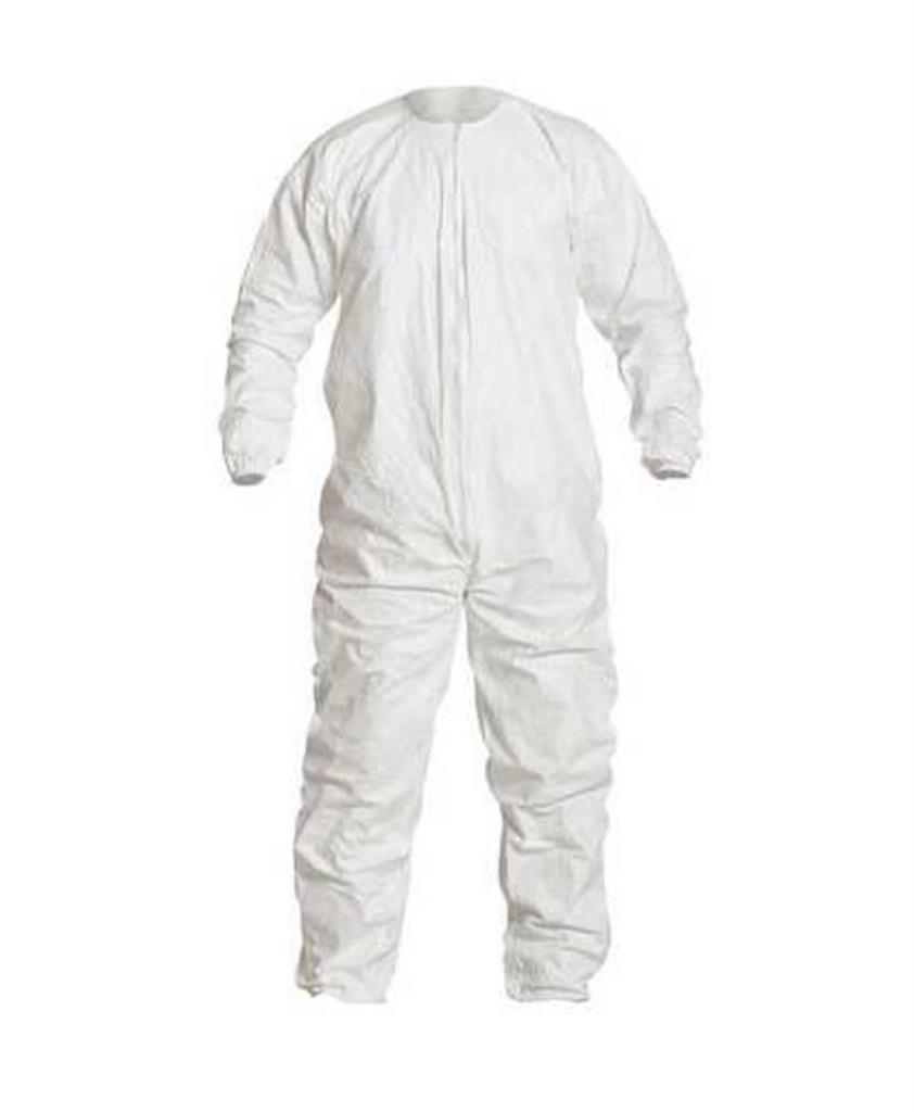 Cleanroom Coverall, DuPont, Tyvek, IsoClean, Size Large, White, Disposable, Zipper Front, Elastic Wr