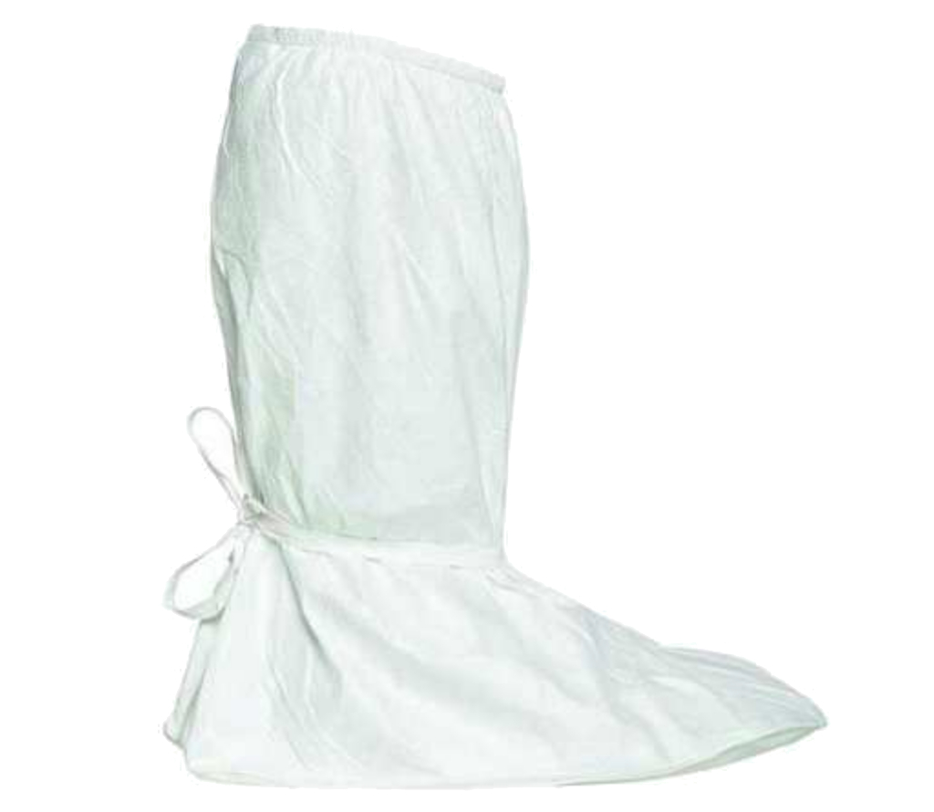 DuPont, Tyvek, IsoClean Boot Cover, Serged Seams, PVC Sole, Covered Elastic Opening, Ties at Ankles,