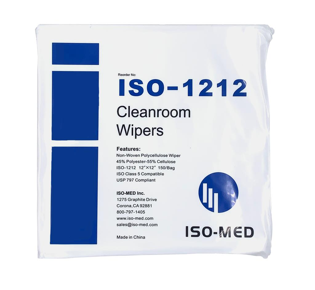 "Cleanroom Wipe 12"" x 12"" Non-Woven Polycellulose Wiper, 50% Poly - 50% Cellulose , Double Bagged 150"