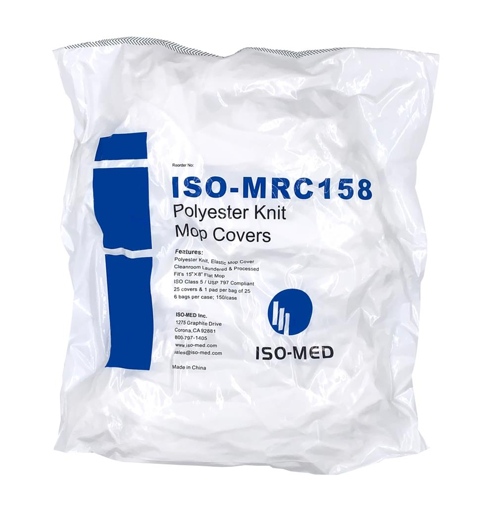 "Polyester Knit Mop Cover, Micro-denier Polyester Knit Size: 8"" x 15"", 25 mop cover per bag, 6 bags p"