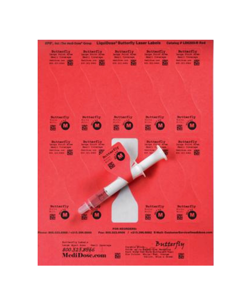 LiquiDose Butterfly Label Laser, Oral - RED 1000/pk