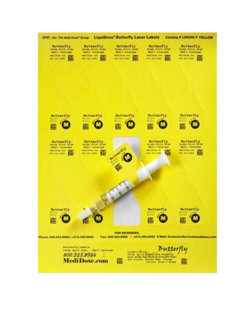 LiquiDose Butterfly Label Laser, Oral - Yellow 1000/pk