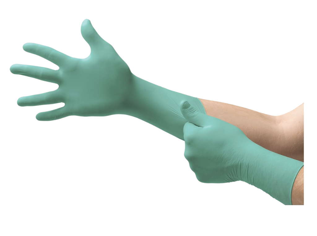 "Disposable Neoprene Exam Glove with Extended Cuff, 12"", Green, Size Small, 50 Gloves Per Box, 500/CS"