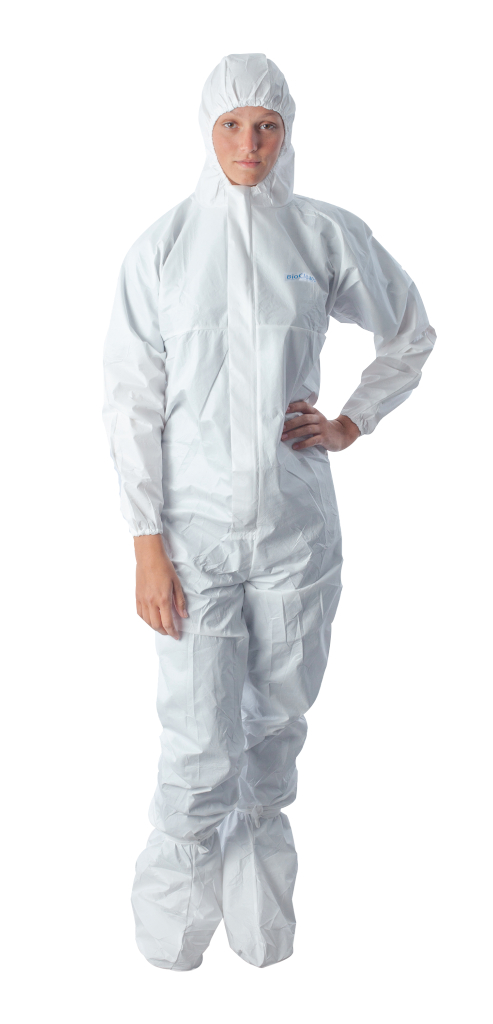 BioClean-D, Sterile Coverall, Zip with Sealable Boots, Hood, Elastic Back, Cuffs, and Ankles, 15/CS