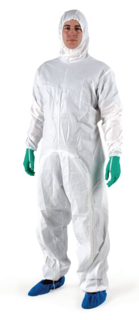 BioClean-D Drop Down Sterile Garment w/Hood, CleanTough Material, ISO Class 4 Compatible, Antistatic, Individually Wrapped, White, Medium, 20/CS