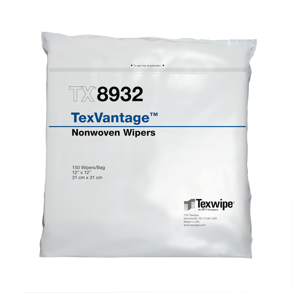 "TexVantage Wiper, Cellulose/Polyester, Nonwoven, hydroentangled 12"" x 12"" 150 wipers/bag; Double-bag"