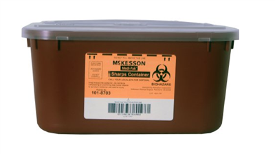 Sharps Container McKesson 2-Piece 5 H X 10 W X 7 D Inch 1 Gallon Red Horizontal Entry Lid, 1/EA 24/C