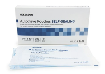 Sterilization Pouch Mckesson EO Gas / Steam 7.5 x 13 Inch Transparent Blue / White Self Seal Paper /