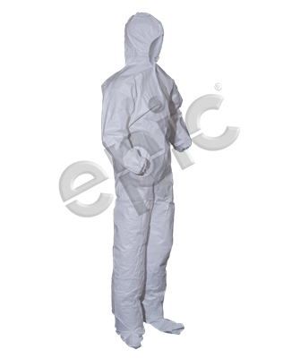 Coverall White M.P Film Coated, H&B,EW,EB, Large