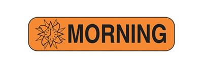"""Morning"" Auxillary Labels, Orange With Black Text"