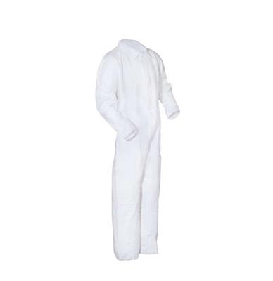 Coverall, White MP Coated, Collar, No Elastic, 25/CS