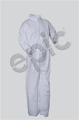 COVERALLS, WHITE M.P. FILM COATED, COLLAR, 2XL 25/case