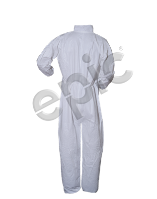 COVERALLS, WHITE M.P. FILM COATED, COLLAR, MED 25/case