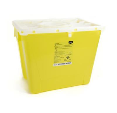 "Sharps Container, 13.5H x 17.3W x 13L"", Locking Lid, Non-Sterile, Yellow -Chemo, 8 Gallon, 9/CS"