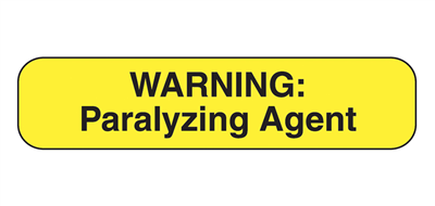 "Warning Paralyzing Agent Labels, 1⅝""W x ⅜""H, 1,000/EA"