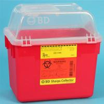 Multi-purpose Sharps Container Multi-Use Nestable 10.07 X 7.09 X 9.84 Inch 8 Quart Red Base Clear Lid Funnel Lid