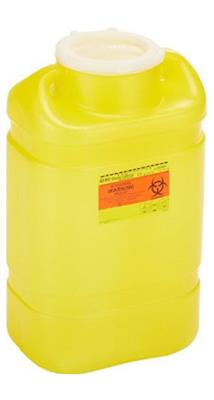Chemotherapy Sharps Container 2-Piece 14H X 7.5W X 10.5D Inch 5 Gallon Yellow Base Snap-On Lid