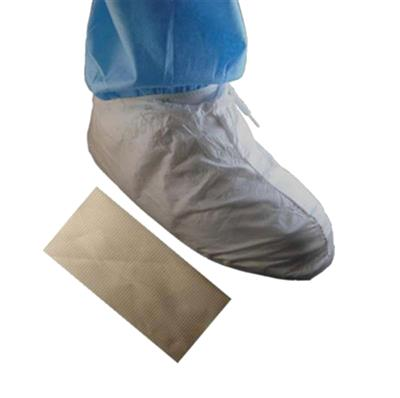 "Cleanroom Shoe Cover With PVC Sole 7"" Tall MP Upper White"