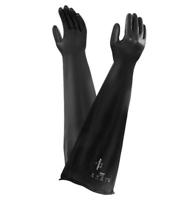 Neoprene Isolator Glove for Medium Level Chemical Environments, Providing Chemical Resistance W/Medium Physical Durability and Improved Dexterity, Size 9,10, 250mm Port, .76 Thickness, 10PR/CS
