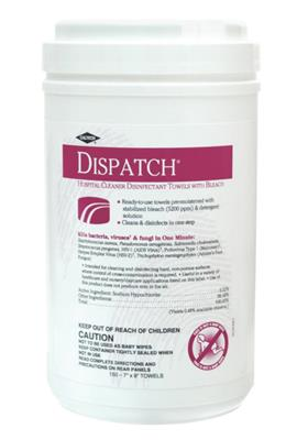 "Dispatch Disinfectant Towel Disposable 8"" x 7"" 150/EA"