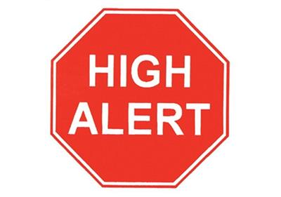 High Alert Label Stop Sign Shape Label