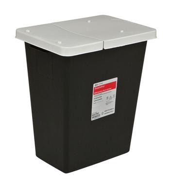 RCRA Waste Container 8 Gallon Black Base White Lid Hinged Lid 10/Case