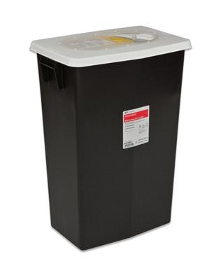 RCRA Waste Container SharpSafety™ 18.75 H X 12.75 D X 18.25 W Inch 12 Gallon Black Base / White Lid Vertical Entry Sliding Lid
