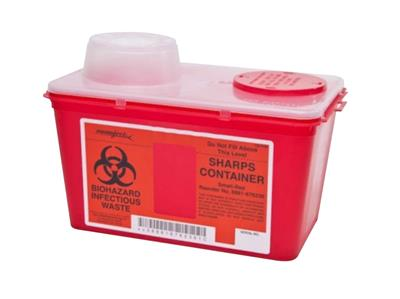 Multi Purpose Sharps Container Monoject 1-Piece 7.08H X 6.75W X 10.56D Inch 4 Quart Red Chimney Top,
