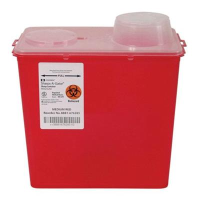 Multi Purpose Sharps Container Monoject 1-Piece 10.89H X 10.56W X 6.75D Inch 8 Quart Red Chimney Top 20/case