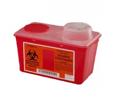 Multi Purpose Sharps Container Monoject 1-Piece 10.89H X 10.56W X 6.75D Inch 8 Quart Red Chimney Top