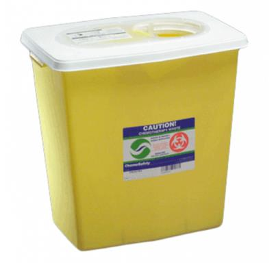 Chemical Waste Receptacle Chemosafety 12 Gallon Yellow Sliding Lid 10/case