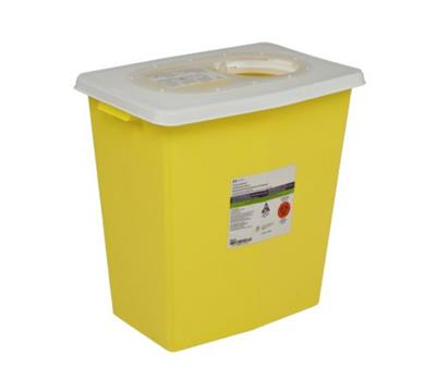 Chemotherapy Sharps Container Chemosafety™ 1-Piece 17.75H X 11W X 15.5D Inch 8 Gallon Yellow Base Hinged Lid, 10/CS